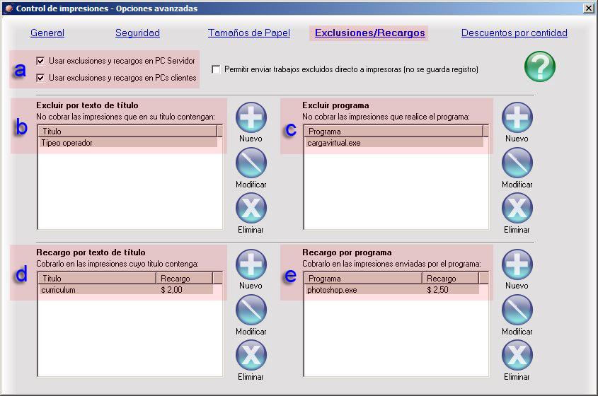 Exclusiones - Recargos. Clic para ampliar.
